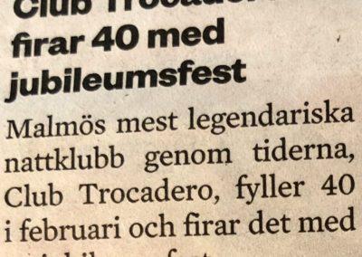 Sydsvenskan, notis om 40-års jubileum