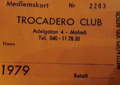 TROCADERO medlemskort 1979 - den allra första serien